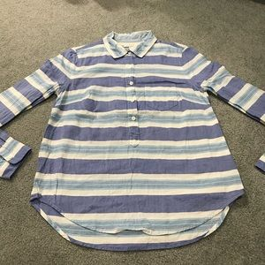 J.CREW Blue Multistripe Popover Top Long Sleeve